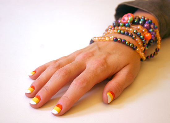Nail It This Halloween With a Candy Corn Manicure