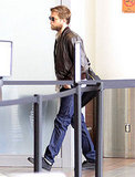 Rob made his way through the security line at LAX.