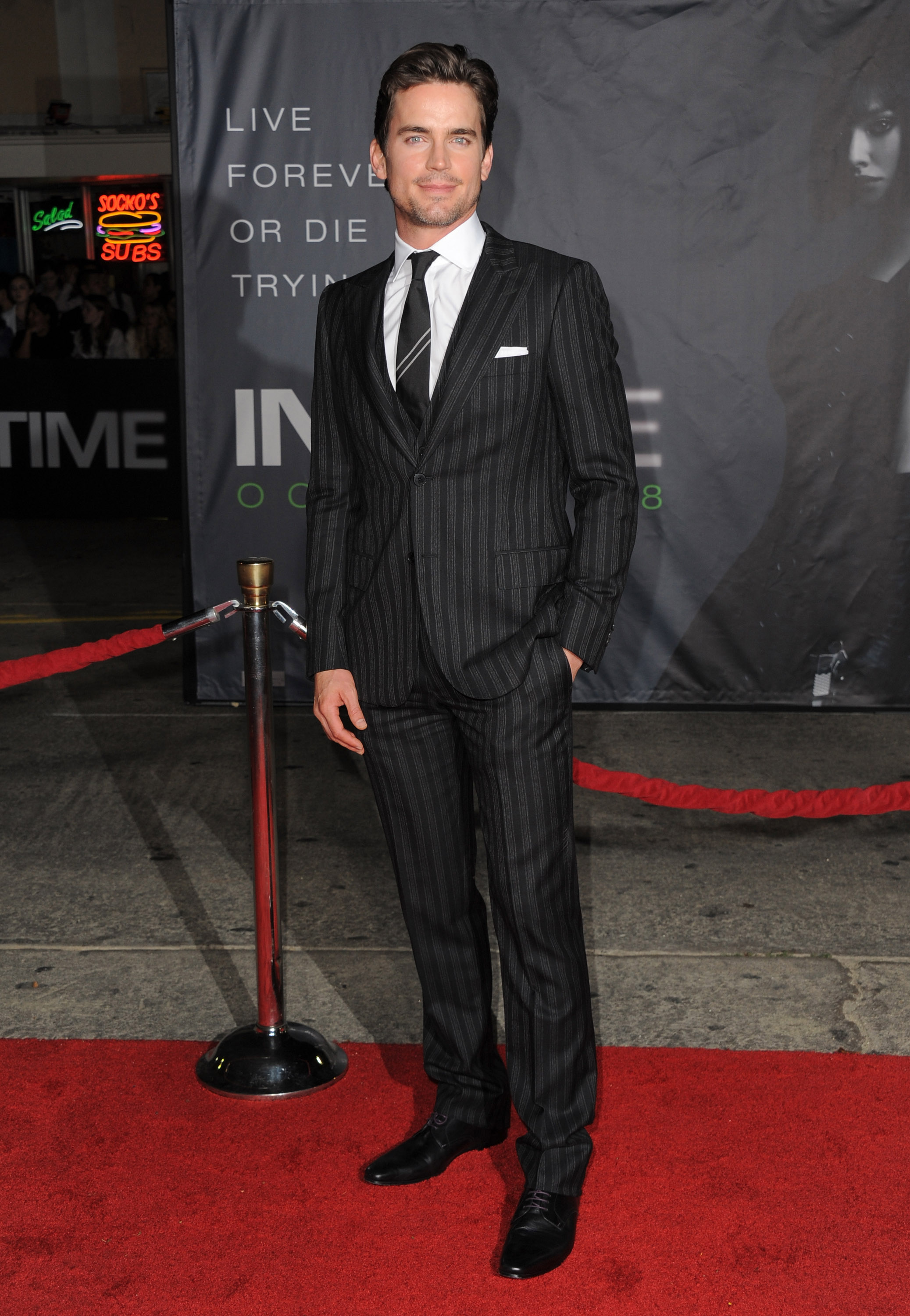 matt bomer in a pinstriped suit justin timberlake