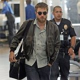 Robert Pattinson arrived at LAX with a full beard.