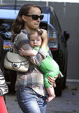 Natalie Portman walks with baby Aleph.