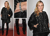 Pictures of Diane Kruger Wearing Chanel A/W 2011 coat and leather pants at the Premiere of Forces Speciales in Paris