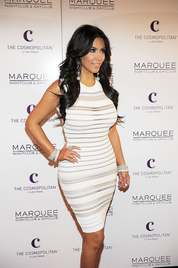 Kim Kardashian wore white for her party.