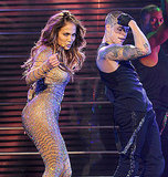 Jennifer Lopez danced on stage.