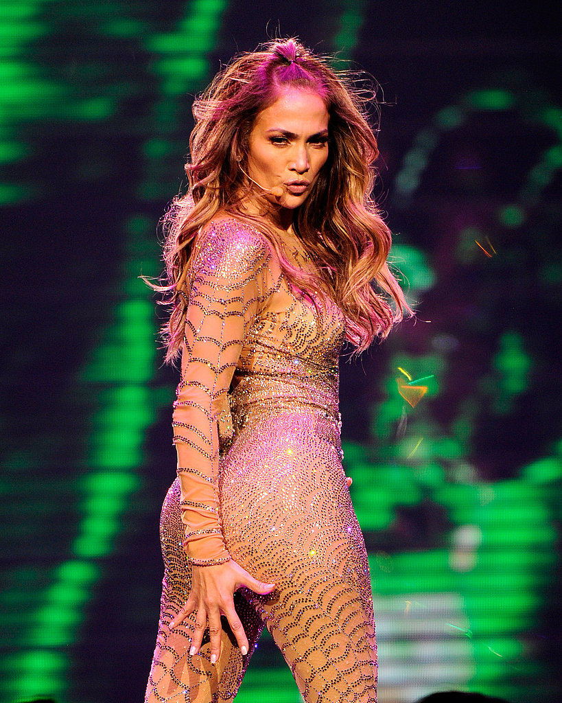Jennifer Lopez wore a sparkly jumpsuit.