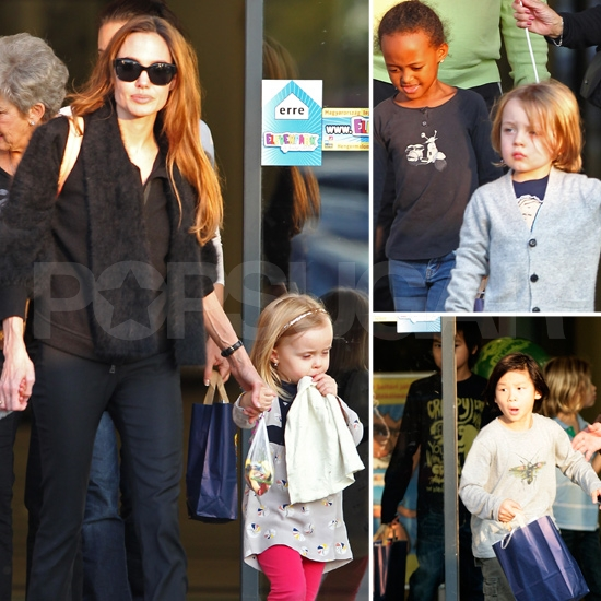 Angelina Jolie Parties in Hungary With Her Six Kids and Brad's Parents