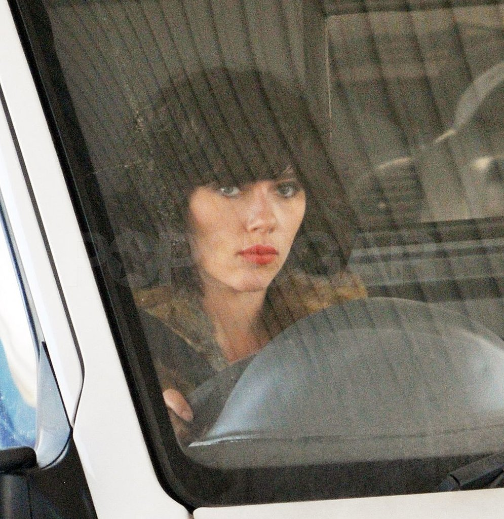 Scarlett hopped inside a van for a scene.