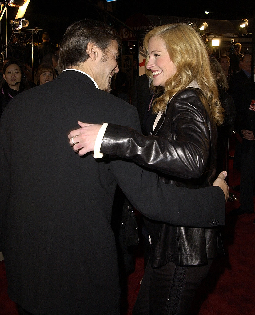 Julia Roberts shared a laugh with George Clooney at the 2001 premiere of Ocean's Eleven.