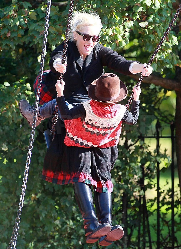 Kingston shared a swing with Gwen.