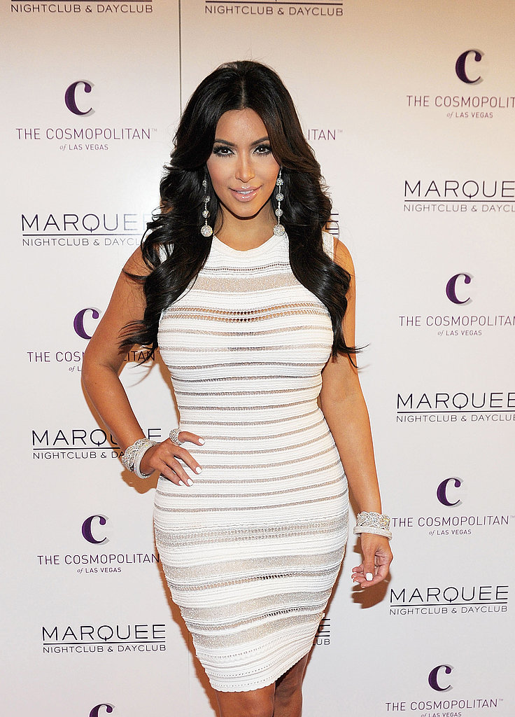 Kim Kardashian wore a peek-a-boo dress to her 31st birthday party.
