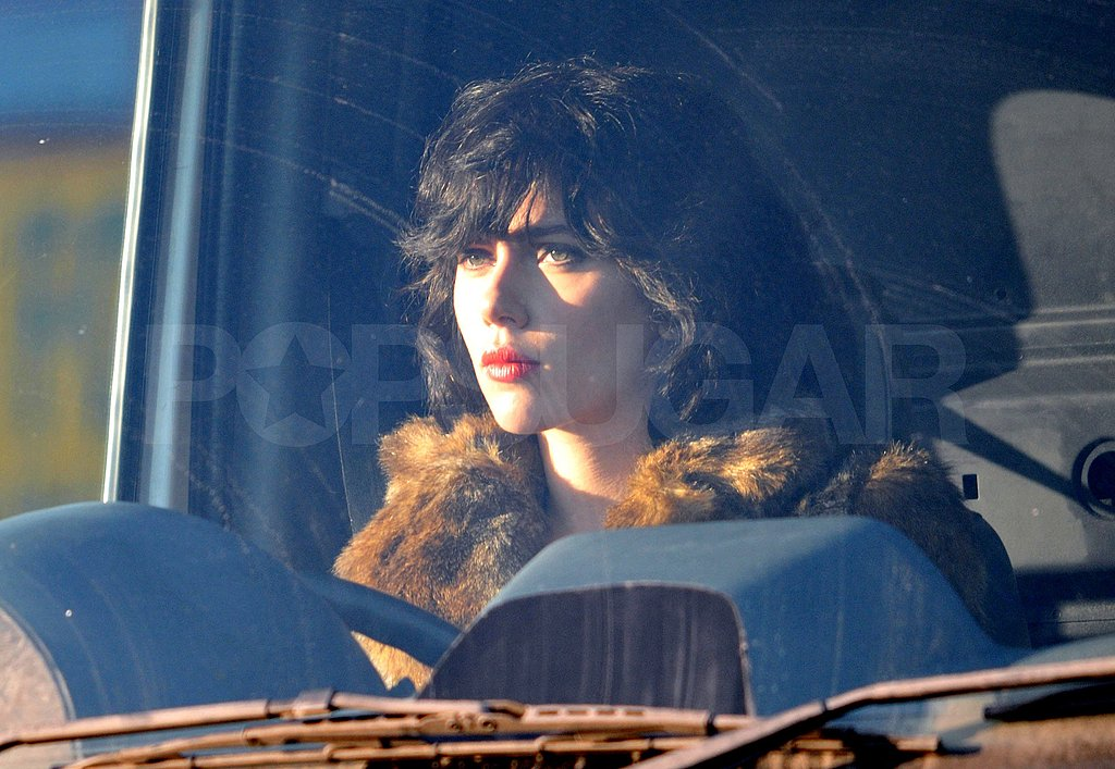 Scarlett took her mark behind the wheel for her new film.