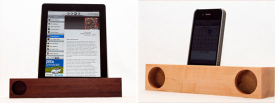 The sleek iPad walnut acoustic dock ($70) and iPhone maple acoustic dock ($60) are both handcrafted in Illinois and finished with orange oil and wax for a natural and polished look for the office, bedroom, or living room.