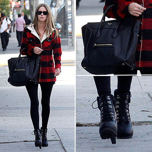Nicky Hilton Wearing Torn Plaid Jacket