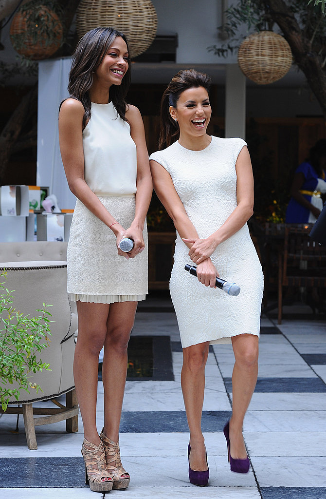 Zoe Saldana and Eva Longoria spoke at a lunch for Glamour in LA.
