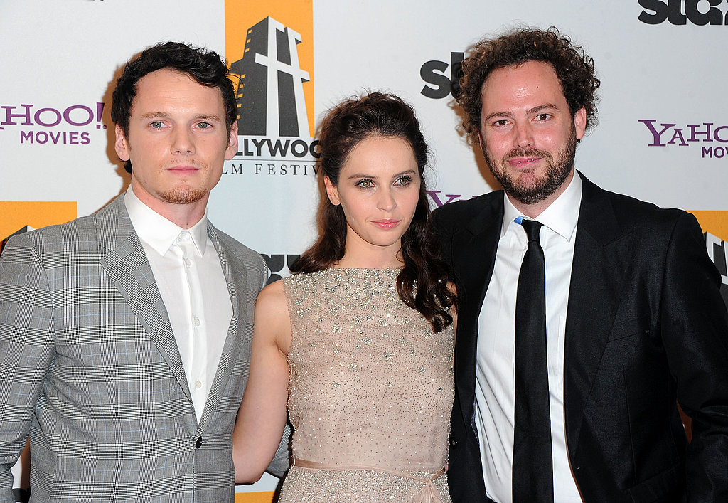 Anton Yelchin, Felicity Jones, and Drake Doremus at the Hollywood Film Awards gala.