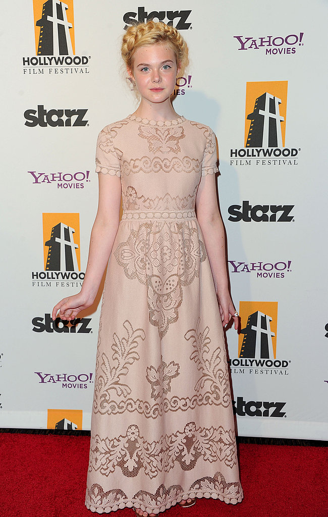 Elle Fanning went for a lace gown at the Hollywood Film Awards.