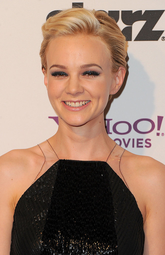 Carey Mulligan wore a sleek black dress on the red carpet.