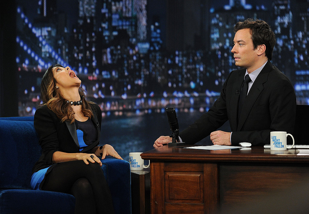 Salma Hayek showed Jimmy Fallon some beauty exercises.
