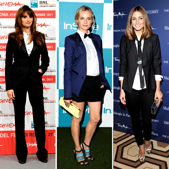 Check out how celebs have worked the menswear look into their red carpet ensembles recently: Penelope Cruz donned a Dolce & Gabbana fitted suit, Diane Kruger put a playful spin on masculine dressing in a sleek Jason Wu ensemble and Olivia Palermo sported a tailored blazer and pants and loose necktie.