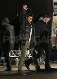 Tom Cruise waved to fans while on set.