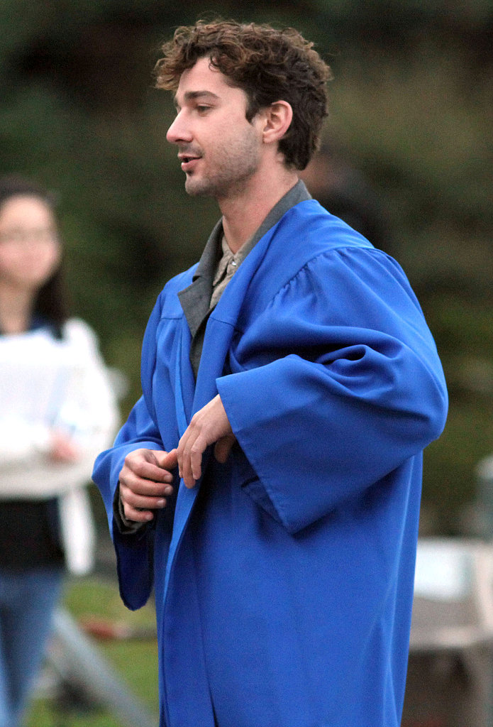 Shia slipped into his graduation robe.