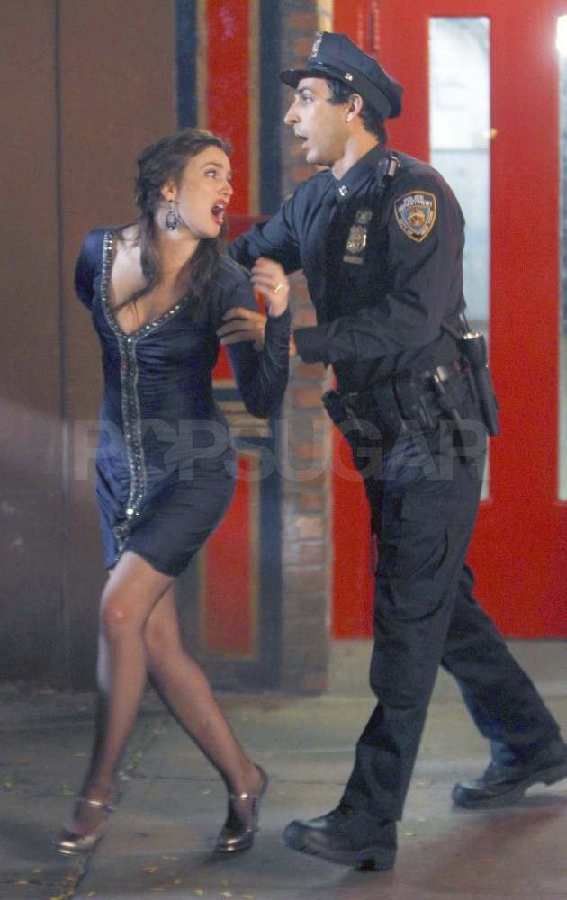 Leighton Meester filming Gossip Girl in NYC.