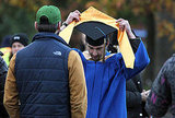 Shia LaBeouf wore blue and gold for his graduation scene.