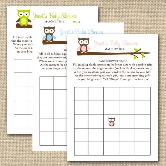 Owl Baby Shower Bingo, 20 Cards ($15)