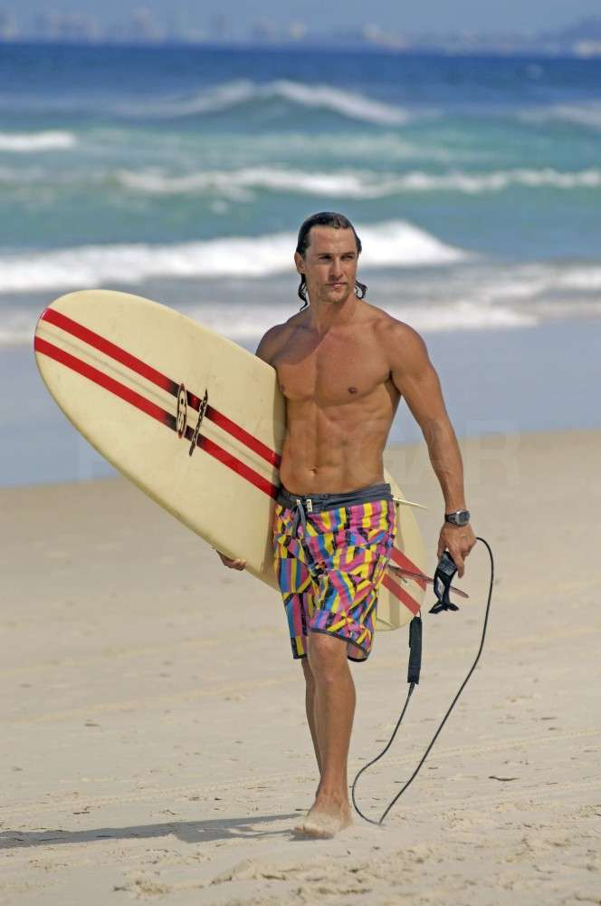 Matthew McConaughey surfed shirtless in Australia in February 2007.