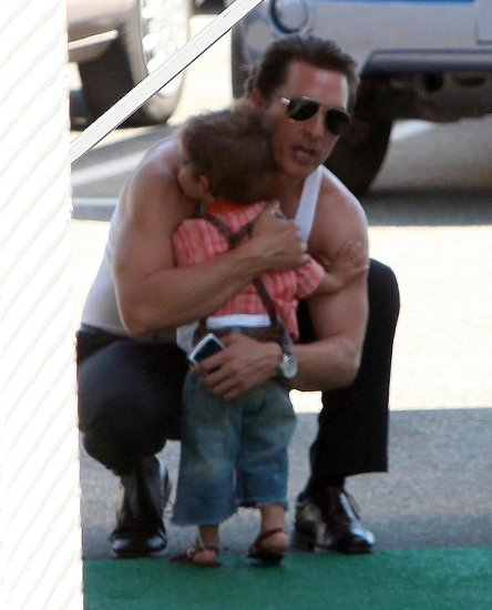 Matthew McConaughey got a visit from little Levi on the set of The Lincoln Lawyer in August 2010.