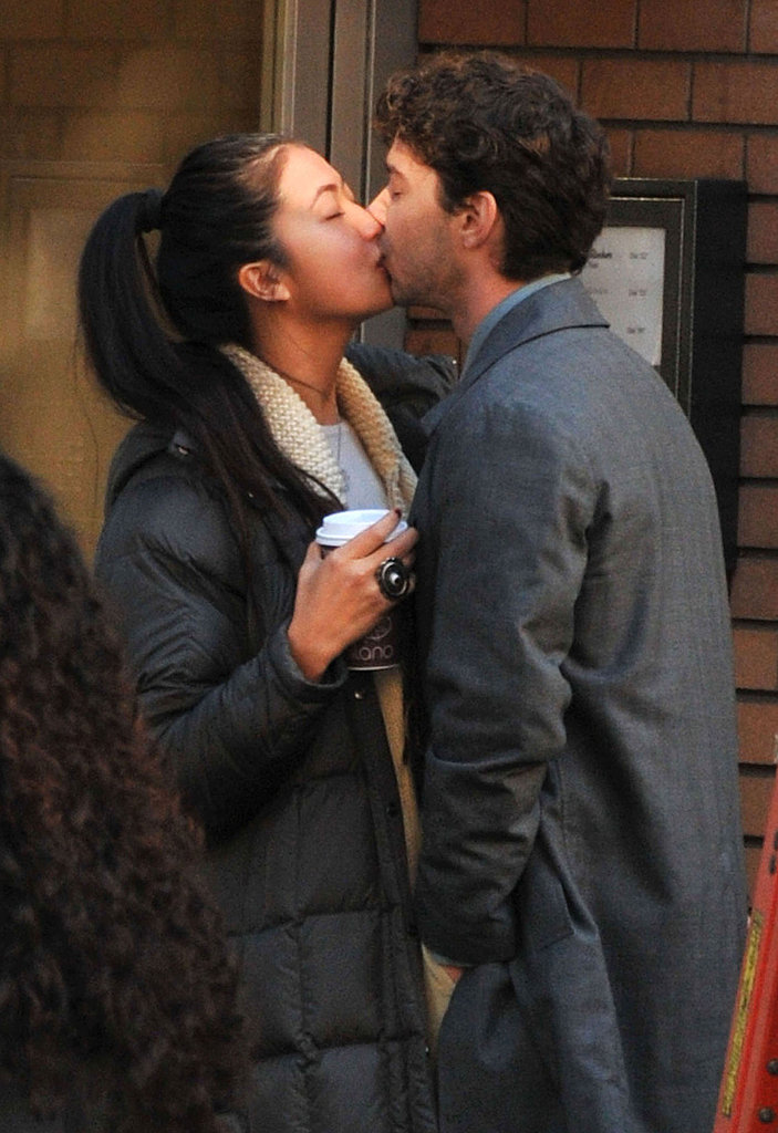 Shia LaBeouf and Karolyn Pho kissing on set in Vancouver.
