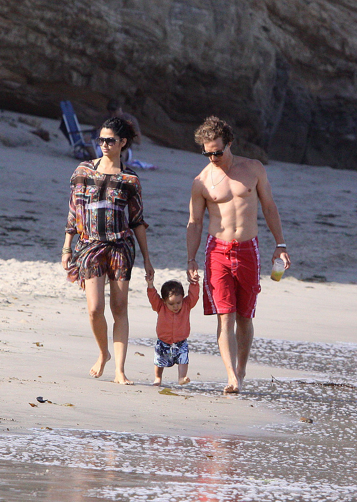 Matthew McConaughey and Camila Alves walked with baby Levi in Malibu in May 2009.