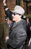 Johnny Depp in Oxford, England for a The Rum Diary press stop.