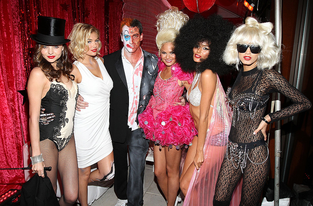 Miranda Kerr partied with pals Kate Upton, Mark Birnbaum, Christine Teigen, Nicole Trunfino and Jaslene Gonzalez for Halloween.