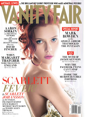 Scarlett Johansson on the cover of December 2011 Vanity Fair.