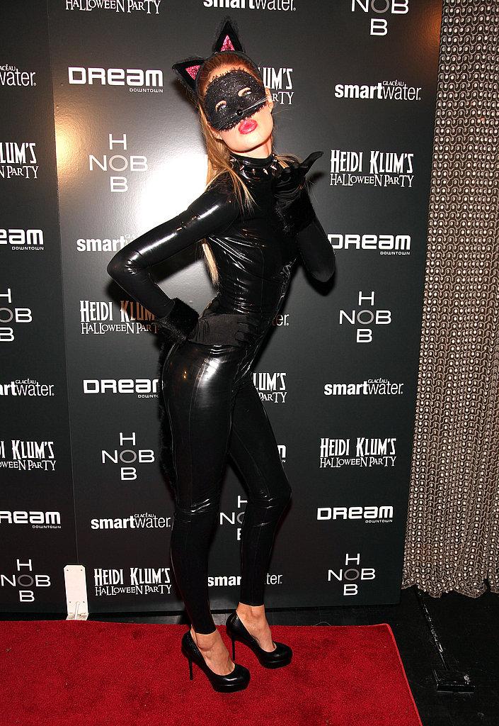 Doutzen Kroes showed off a fierce pose in her feline suit in 2011.