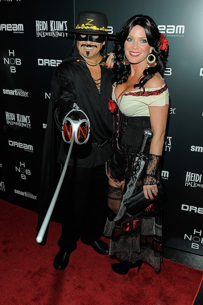 En garde! Kevin Mazur and Jennifer Mazur channel Zorro and Elena on Halloween night.