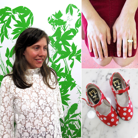 "At left, Moffatt wears a lace top from her Holiday 2011 collection. ""I'm sure my personal style influences my collections,"" she says. The vivid wall decal that adorns the entrance to her studio depicts women silhouetted in leaves.  Top right: ""My wedding ring [top right] is from a jewelry store in Philadelphia called Bailey Banks and Bob's. Picture it: small, junky — the only store left in America where you're allowed to smoke. Yet, this perfect little ring was tucked into a black velvet tray, just waiting for me. It's 18k gold and ivory with two little diamonds, made in Italy; probably from the '60s or '70s.""    Bottom right: ""I love her in funny vintage things,"" Moffatt says of dressing her 3-year-old daughter. ""I was at the Sloan-Kettering Thrift Shop on the Upper East Side and found an amazing collection of coats and dresses for her from the '50s."" The tiny Moda de Espana shoes, bottom right, were purchased on a recent trip to Paris."