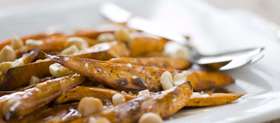 Roasted Sweet Potatoes and Macadamia Nuts