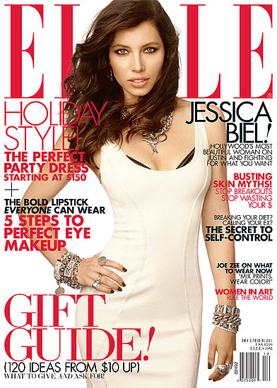 Jessica Biel on the December 2011 cover of Elle.