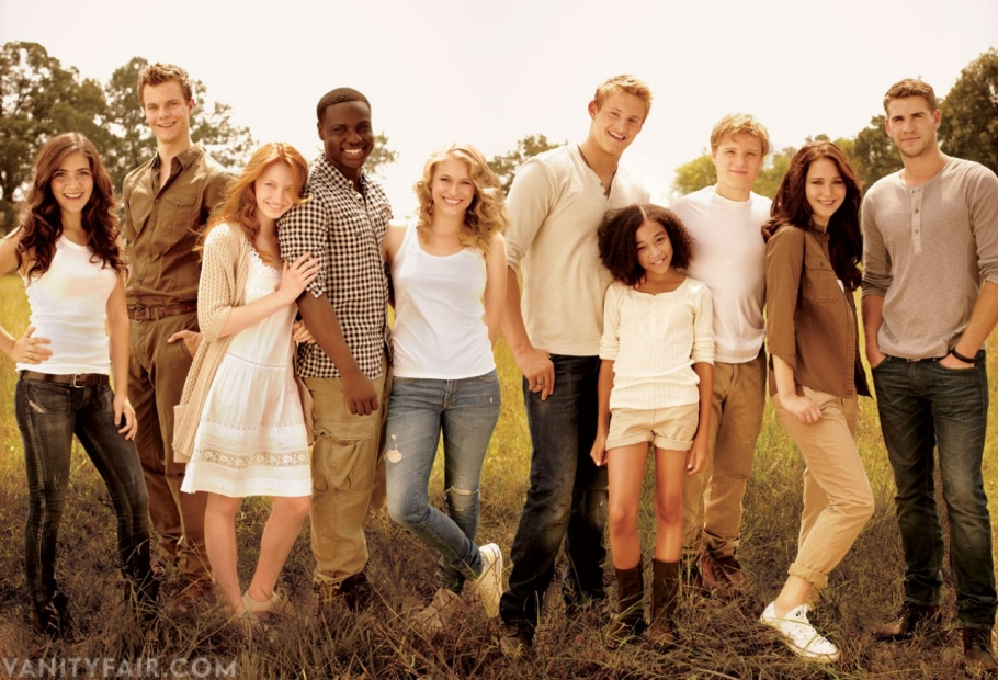 The Hunger Games cast members Isabelle Fuhrman, Jack Quaid, Jacqueline Emerson, Dayo Okeniyi, Leven Rambin, Alexander Ludwig, Amandla Stenberg, Josh Hutcherson, Jennifer Lawrence, and Liam Hemsworth.
