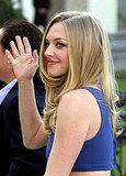Amanda Seyfried waved to the crowd outside the hotel.