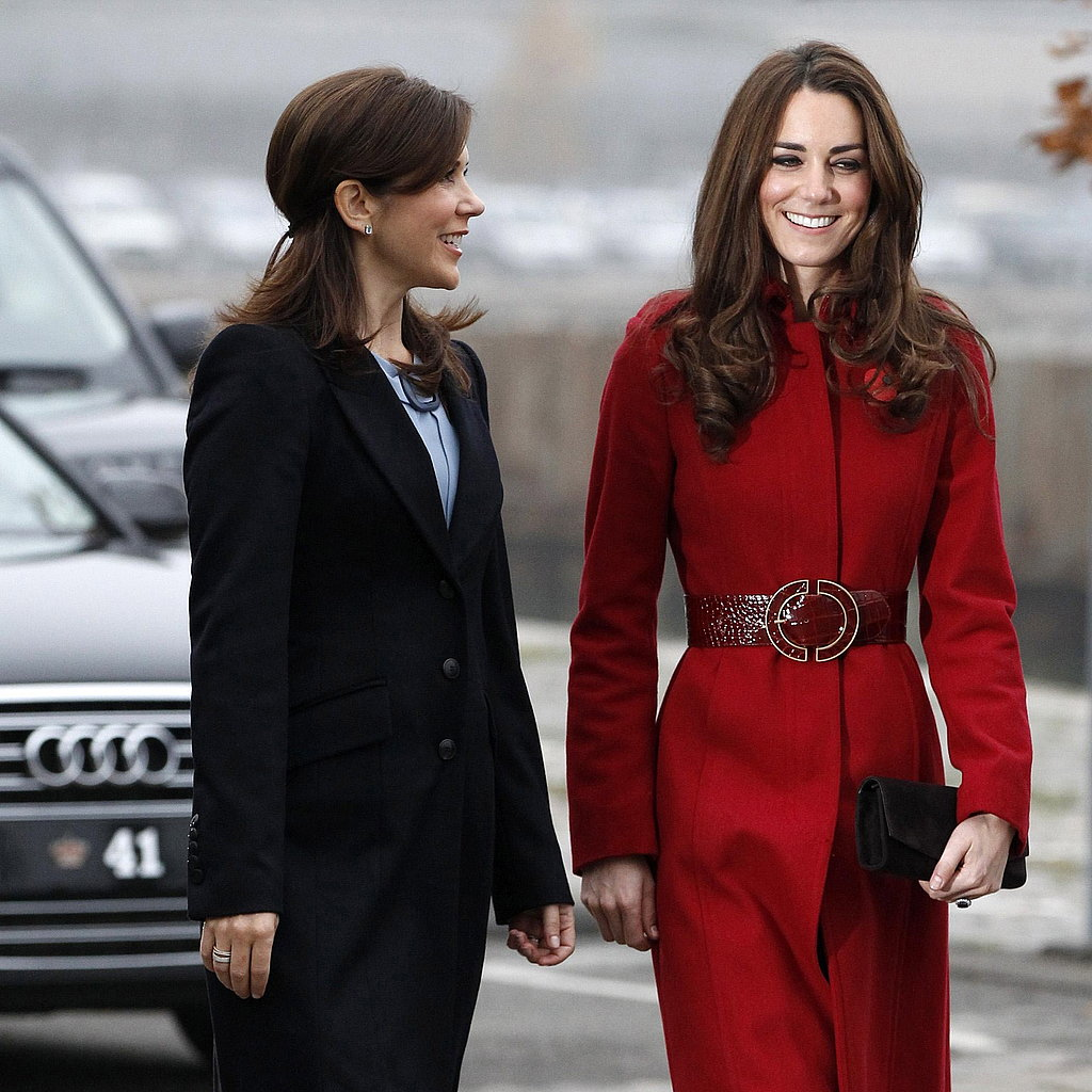 Kate walks with Crown Princess Mary.