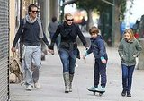 Kate Winslet, Ned Rocknroll, and Mia Threapleton walked as Joe Mendes rode ahead on a ripstik.