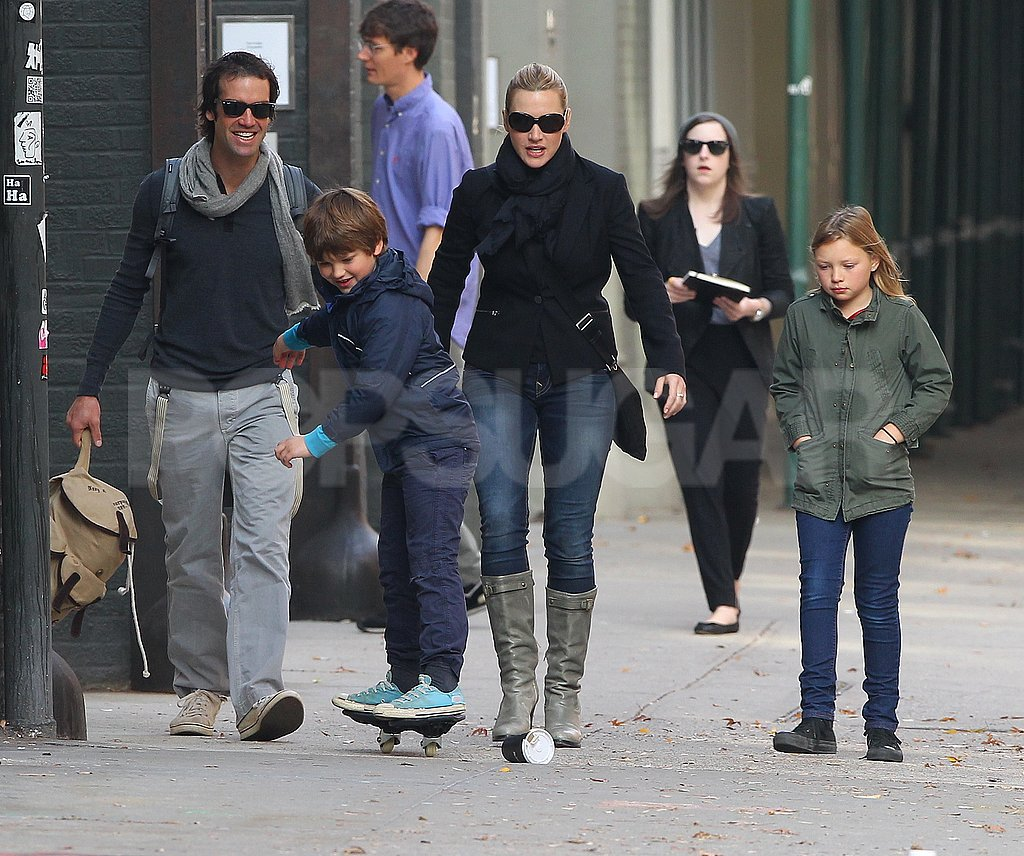 Ned Rocknroll and Kate Winslet took her kids for a stroll in NYC.
