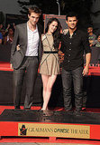 Kristen Stewart stood between Robert Pattinson and Taylor Lautner.