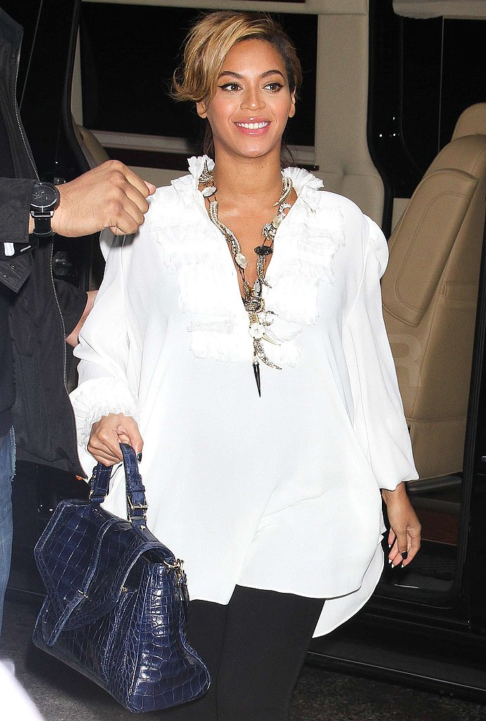 Beyoncé Knowles wore a bright white tunic.
