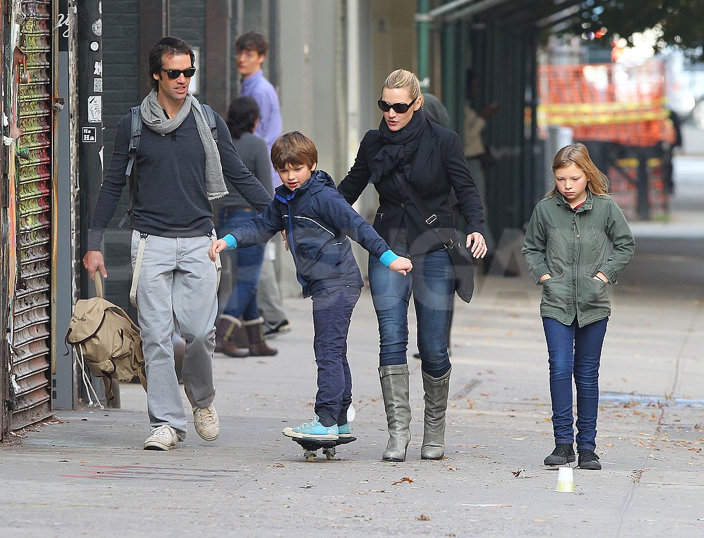 Kate Winslet watched Joe Mendes ride a ripstik in NYC.
