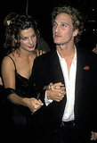 Sandra Bullock and Matthew McConaughey held hands at the LA In Love and War premiere in January 1997.