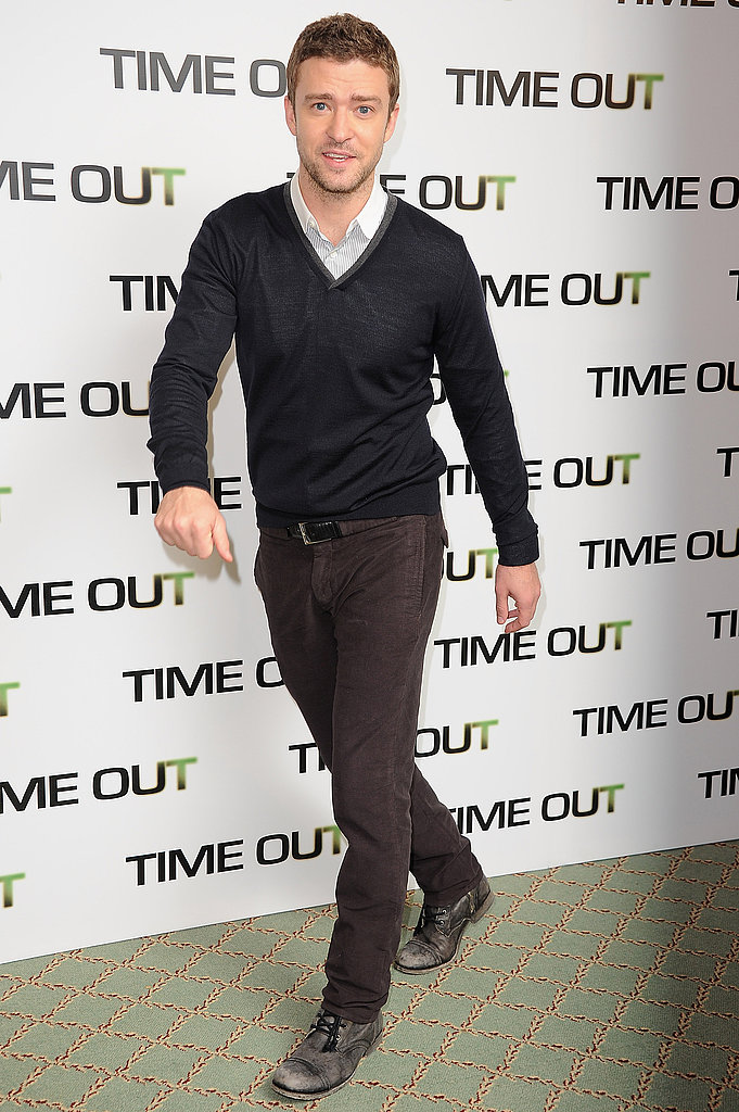 Justin Timberlake promotes In Time in Paris.